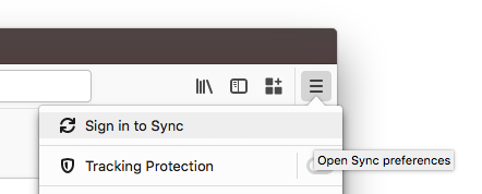 Sign in to Sync Button in the Firefox Menu